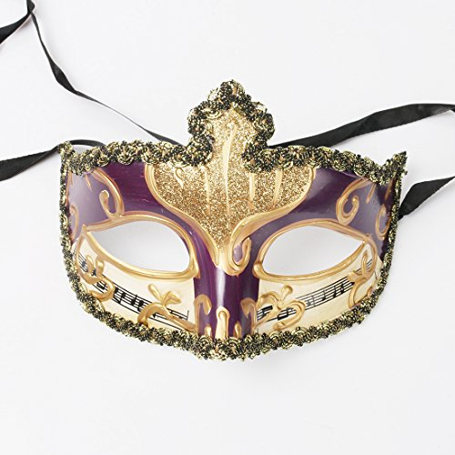YUFENG Evening Prom Venetian Masquerade Masks Costumes Party Accessory (gold mix purple) (Mask Carnival Italian)