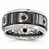 ICE CARATS Edward Mirell Black Titanium Stainless Steel Silver Bezel Spinel Band Ring Wedding Gemstone Man Fancy Fashion Jewelry Ideal Gifts For Women Gift Set From Heart