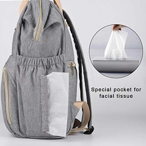 Backpack Diaper Bag for Baby,OSOCE Multi-function Mom Nappy Maternity Back Packs,Water Resistant(Light Grey)