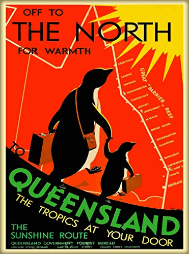 (A SLICE IN TIME Off to The North for Warmth Queensland Australia Vintage Travel Home Collectible Wall Decor Travel Advertisement Art Deco Poster Print. 10 x 13.5)