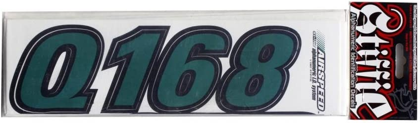 Stiffie Airspeed Racing Green//Black 3 Alpha-Numeric Registration Identification Numbers Stickers Decals for Boats /& Personal Watercraft