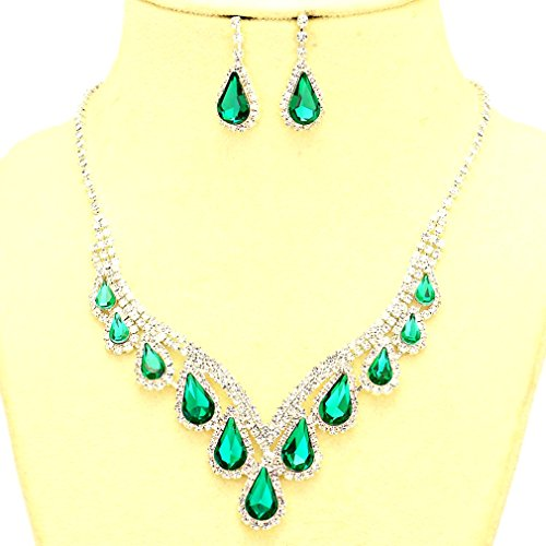 Emerald Green Costume Jewelry Sets (Affordable Bridal Prom Jewelry Emerald Green Clear Rhinestone Silver Necklace Jewelry Earrings Set)