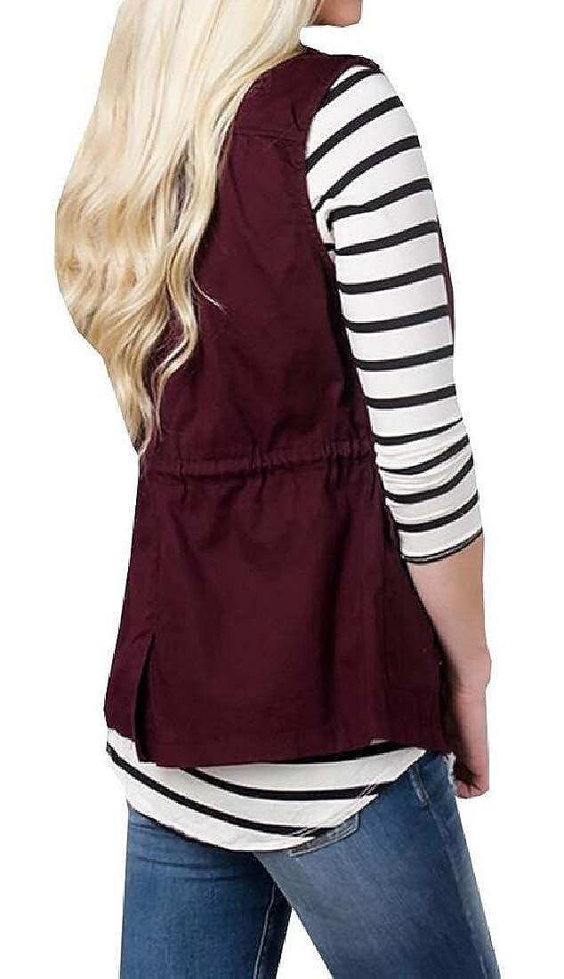 Generic Womens Drawstring Sleeveless Utility Lightweight Parka Anorak Vest Jakets