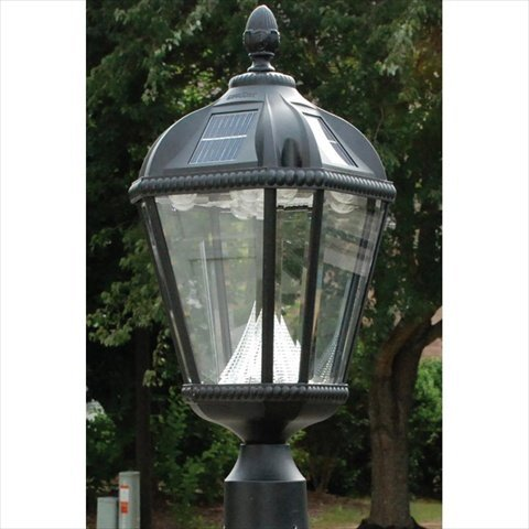 Aluminum Post Mounted Gas Lamp - Gama Sonic Royal Solar Outdoor LED Light Fixture, 3-Inch Fitter for Post Mount, Black Finish #GS-98F-B