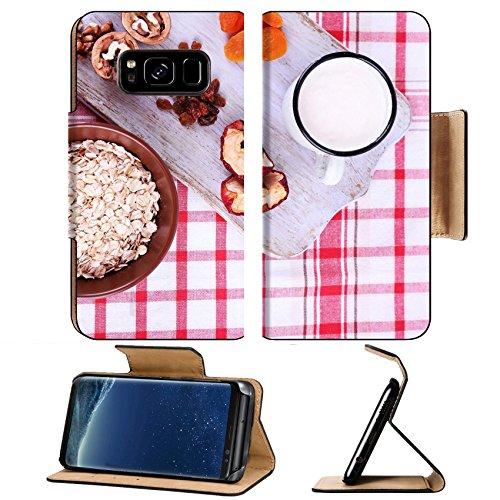 Liili Premium Samsung Galaxy S8 Plus Flip Pu Leather Wallet Case IMAGE ID 33562412 Bowl of oatmeal mug of yogurt marmalade chocolate raisins dried apricots and walnuts on wooden cu - Ornate Walnut