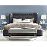 TOV Furniture The Finley Collection Contemporary Style Velvet Upholstered Button Tufted Wingback Bed with Nailhead Trim, Queen Size, Grey