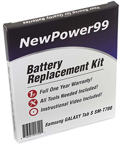New Power Battery Replacement Kit for Samsung GALAXY Tab S 8.4 SM-T700 with Video Installation DVD, Installation Tools, and Extended Life Battery by NewPower99