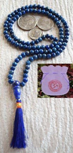LAPIS LAZULI BEADS JAPA MALA NECKLACE. BLESSED & ENERGIZED TOP GRADE GENUINE QUALITY (108+1) HINDU TIBETAN BUDDHIST PRAYER KARMA 5-6 MM BEADS SUBHA ROSARY MALA FOR NIRVANA, BHAKTI, FOR REMOVING INNER DOSHAS, FOR CHANTING AUM OM, FOR AWAKENING CHAKRAS, KUNDALINI THROUGH YOGA MEDITATION-FREE OM MALA POUCH INCLUDED