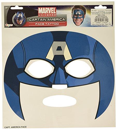 Captain America Face Tattoo Mask