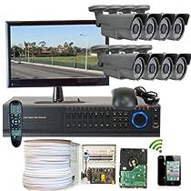 GW Security Inc. 8CHH1 8-Channel HD-SDI High Definition DVR Lens Security Camera System (Black)