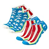 Brand 59 Stars and Stripes Low Cut Golf Socks (Red/White/Electric Blue (2 Pairs), Small)