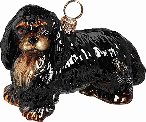 Spaniel Glass Ornament - Joy To The World Black and Tan Cavalier King Charles Spaniel Dog Polish Glass Christmas Ornament