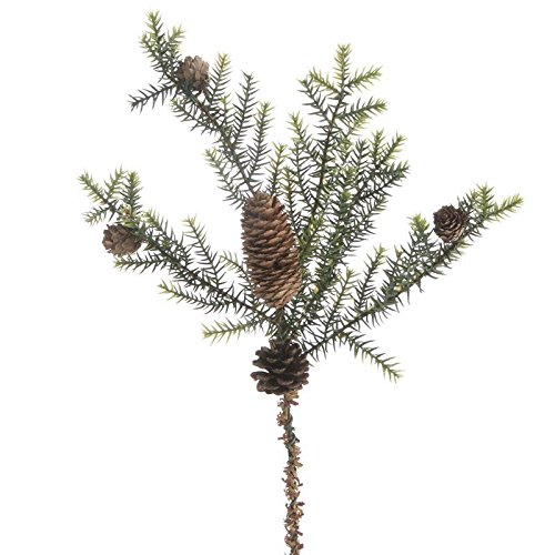 (Factory Direct Craft Group of 4 Artificial Cypress Pine Sprays with Pinecone Accents)