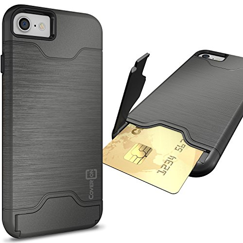 CoverON [SecureCard Series] Fit iPhone 8 Case with Card Holder, iPhone 7 Case, Protective Hard Hybrid Cover with Credit Card Slot and Kickstand Phone Case for Apple iPhone 8/iPhone 7 - Gunmetal Grey