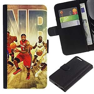 Protector de cuero de la PU de la cubierta del estilo de la carpeta del tirón BY RAYDREAMMM - Apple Iphone 6 PLUS 5.5 - Equipo de baloncesto