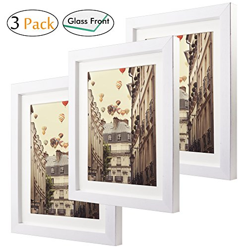 8x10 Matted Picture Frames Set of 3 Glass Front Made to Disp