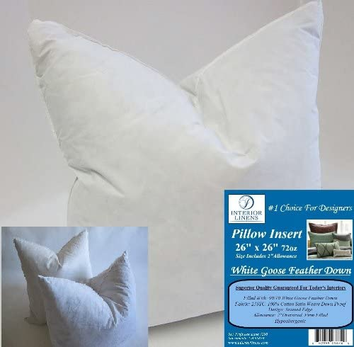 2 Pillow Inserts 26 X26 72oz 10 90 White Goose Feather Down 2 Oversized Firm Filled Actual Size 28 X28 Home Kitchen