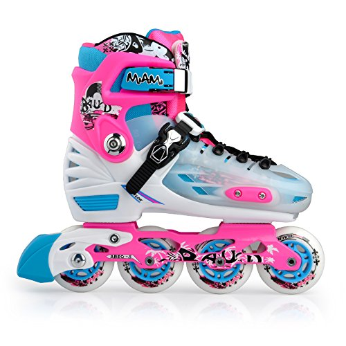 Miami Pink Girl's Women's Adjustable Inline Skates in Various Sizes (L/US6-8) - Womens Aggressive Skates