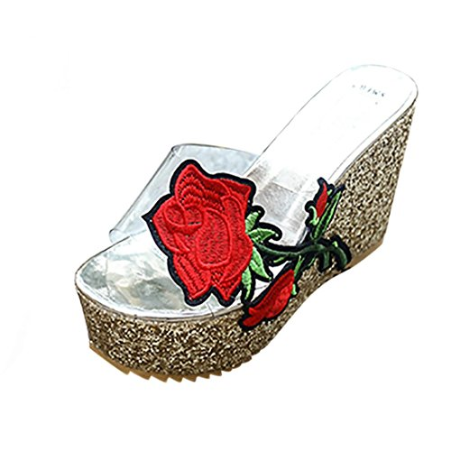 Wedges Slippers Bottom Shoes Embroidered Thick Women Heeled High hunpta Gold Platform Sloped wIq887