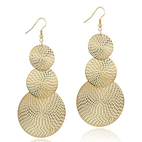 14K Gold Round Disc Triple Earrings Dangle Drop Filigree Carved Earring for Women Girls