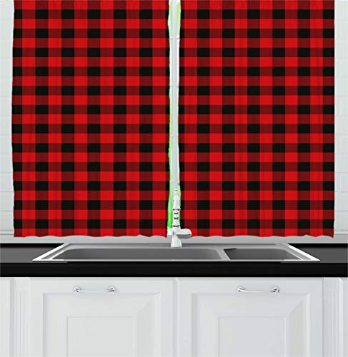Ambesonne Plaid Kitchen Curtains, Lumberjack Fashion Buffalo Style Checks Pattern Retro Style with Grid Composition, Window Drapes 2 Panel Set for Kitchen Cafe, 55 W X 39 L Inches, Orange - On Curtain A Plaid