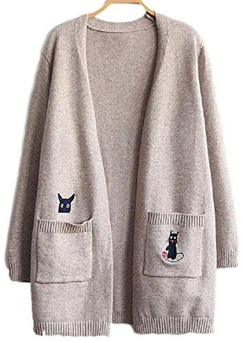[Nana_Collection(ナナコレクション)] 秋 春 ニット セーター 羽織 猫 ねずみ こま ポケット レディース 長袖 ベージュ Free