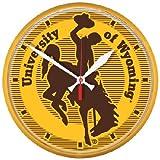 NCAA University of Wyoming Round Wall Clock, 12.75''
