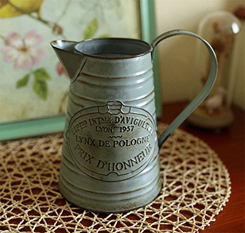 VANCORE(TM) Rustic Style Shabby Chic Large Metal Vase Pitcher