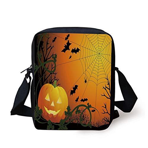 Spider Web,Halloween Themed Composition with Pumpkin Leaves Trees Web and Bats Decorative,Orange Dark Green Black Print Kids Crossbody Messenger Bag Purse]()