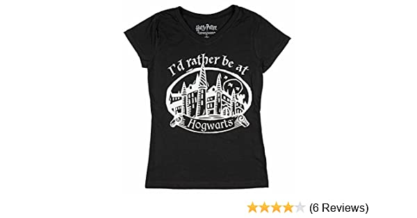 404f5e4a1 Amazon.com: Harry Potter I'd Rather Be at Hogwarts Girls V-Neck Glitter T- Shirt (Small, 6/6X) Black: Clothing