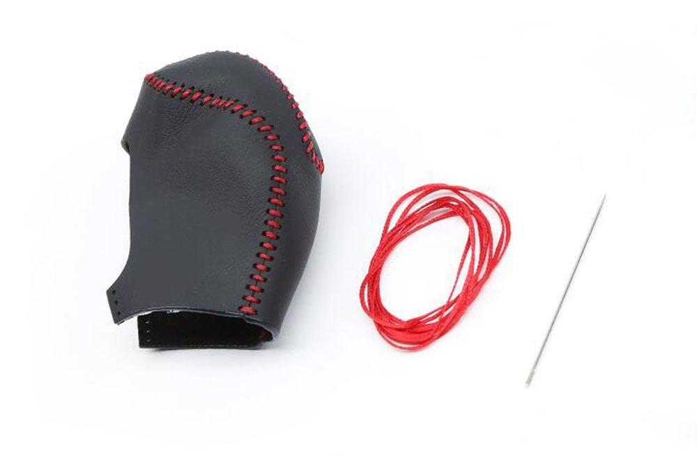 Salusy Black Leather Red Thread Gear Shift Knob Cover For Hyundai Tucson 2016 2017