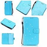 iPhone 7 plus Case, [Wrist Strap] [Stand Feature] PU Leather [beautiful tree] Flip Wallet Case Cover for 5.5 inch iPhone 7 plus with Screen Protector And Stylus Pen (Blue)