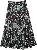 TLB Paisley Black Summer Skirt for Women - L:35'; W:28'-36'