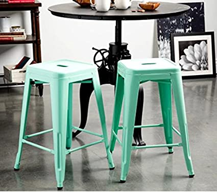 Amazoncom Tabouret Hint Of Mint 24 Inch Counter Stools Set Of 2