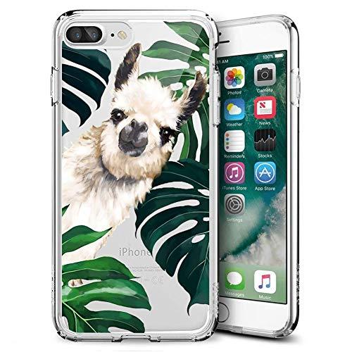 Fashion Anti-Scratch Soft Durable TPU Ultra-Clear Silicone UV Printing Protective Palm Llama Phone Case for iPhone 7 Plus 8 Plus - Printing Durable