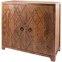 Plaid Nail Head Cabinet With Bronze Finish