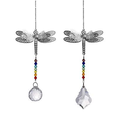 Crystal Suncatcher Chakra Colors Beads Dragonfly Window Hanging Ornament Rainbow Suncatcher, Pack of 2 for Christmas Day, Wedding, Plants, Cars, Window Decor : Garden & Outdoor
