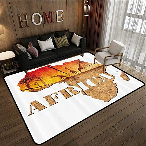 Carpet Flooring,African Decorations Collection,Africa Map with Wood Tree Texture and Giraffe Figures Fantasy Spiritual Continent,Orange 71