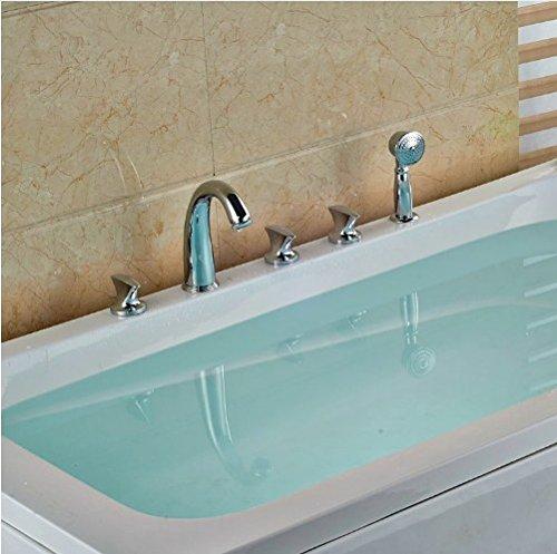 Gowe Bathroom 5pcs Shower Set Brass Chrome Polish Tub Tap Three Handles With Hand Shower Mixer Taps 3