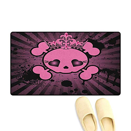 Skull Bath Mat Non Slip Cute Skull Illustration with Crown Dark Grunge Style Teen Spooky Halloween Print Size:32