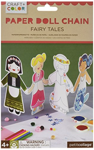 Petit Collage Paper Doll Chain Craft and Color, Fairy Tales (Paper Dolls Fairy)
