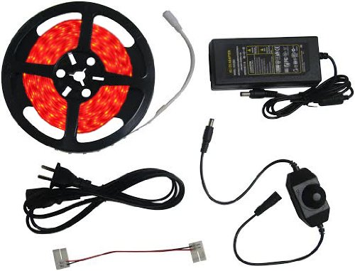 SleekLighting Complete ready to use Kit -Bright RED Led Light Ribbon Strip - Quick and Easy installation - Includes 3A Transformer (adapter) , 1 Jumper (2 pin 15cm),Dimmer. 16.4Ft Spool, 300 LEDs