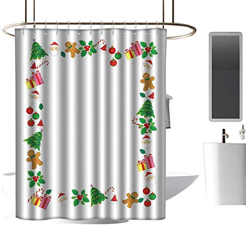 (Shower Curtains Valentine's Kids Christmas,Colorful Border with Different Clip Arts Holiday Festivity Santa Trees Balls,Multicolor,W55 x L84,Shower Curtain for Shower stall)