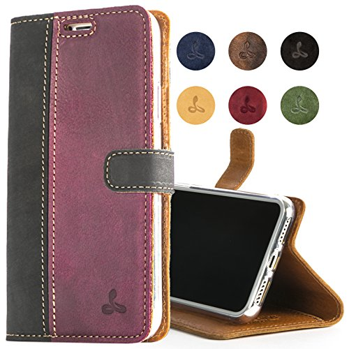 Best SnakeHive Apple iPhone Xs Max Case, Luxury Genuine Leather Wallet with Viewing Stand and Card Slots, Flip Cover Gift Boxed and Handmade in Europe for Apple iPhone Xs MAX - (Black and Plum)
