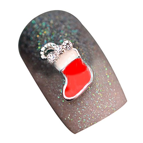 SODIAL(R) 10pcs 3D Christmas Design Alloy Jewelry Nail Art Tips DIY Decorations, Red 033# Red Nail Art For Christmas