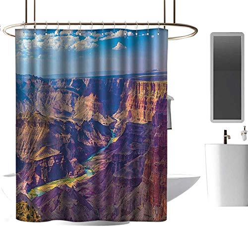 (Shower Curtain Customized House Decor,Aerial View of Epic Grand Canyon Activity of River Stream Over Rock Plateau Print,Blue Tan Patterned Shower Curtain W108 xH72 inch)