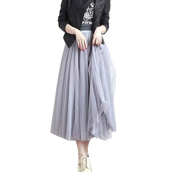 Falda de Tul Elegante Cintura Alta Maxifalda Plisada Mujer Casual ...