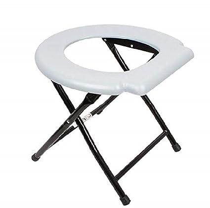 Ducomi® Taburete plegable inodoro para personas mayores y discapacitados (aluminio y titanio – Silla Toilette baño portátil para movilidad assistita