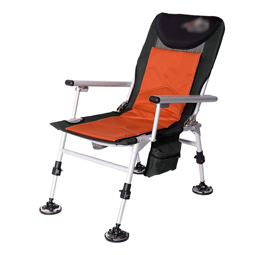 orange D Fishing Chair Multifunctional Camping Chair Stool Folding Portable Seat Thickened Aluminum Alloy redating Backrest Load 200kg (color   orange, Size   D)