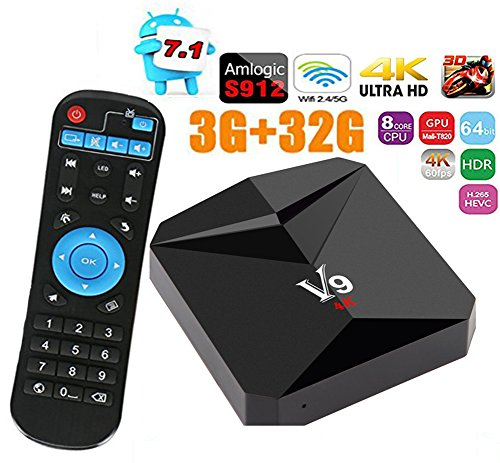 Android TV Box Amlogic S912 Android 7.1 Smart TV Box 3GB+32GB BT4.0 Dual-Band Wifi 2.4G/5G 4K Update Ultra HD Set-top Boxes by HOYITION